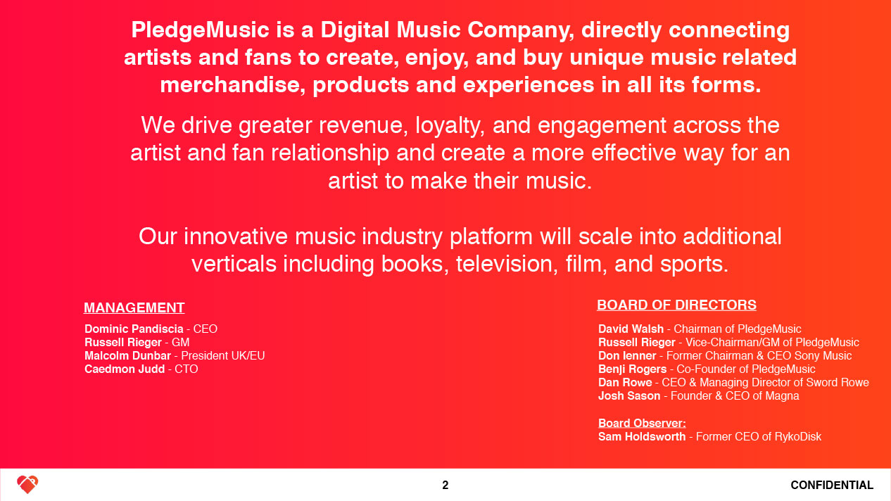 Pledge Music Investment Dec